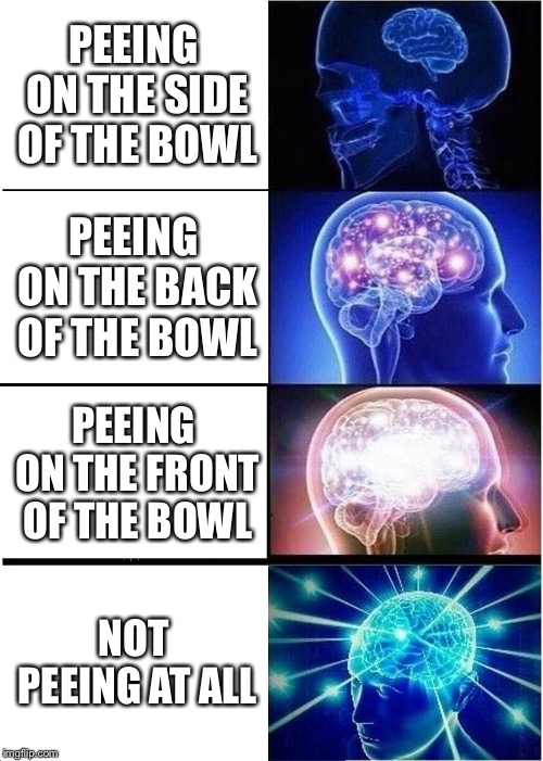 Bois Know How to Pee | PEEING ON THE SIDE OF THE BOWL PEEING ON THE BACK OF THE BOWL PEEING ON THE FRONT OF THE BOWL NOT PEEING AT ALL | image tagged in memes,expanding brain | made w/ Imgflip meme maker
