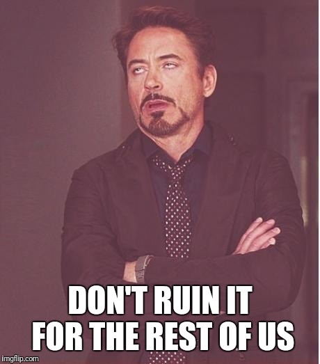iron man eye roll | DON'T RUIN IT FOR THE REST OF US | image tagged in iron man eye roll | made w/ Imgflip meme maker