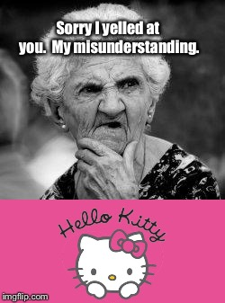 Give it a sec; it will come to you. |  Sorry I yelled at you.  My misunderstanding. | image tagged in confused old lady,hello kitty,rhymes,funny memes,poor hearing,offended | made w/ Imgflip meme maker