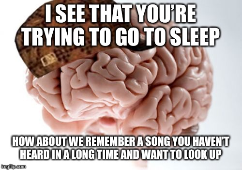 Scumbag Brain | I SEE THAT YOU'RE TRYING TO GO TO SLEEP HOW ABOUT WE REMEMBER A SONG YOU HAVEN'T HEARD IN A LONG TIME AND WANT TO LOOK UP | image tagged in memes,scumbag brain | made w/ Imgflip meme maker