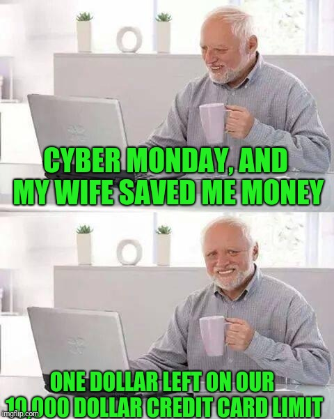 One dollar is better than none | CYBER MONDAY, AND MY WIFE SAVED ME MONEY ONE DOLLAR LEFT ON OUR 10,000 DOLLAR CREDIT CARD LIMIT | image tagged in memes,hide the pain harold,credit card,happy holidays | made w/ Imgflip meme maker