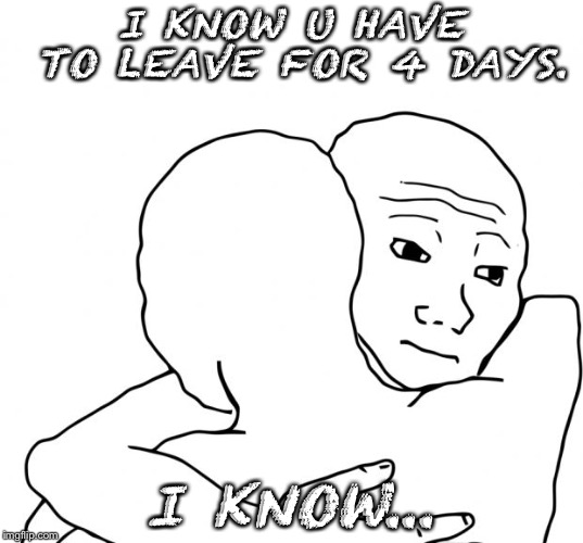 I Know That Feel Bro Meme | I KNOW U HAVE TO LEAVE FOR 4 DAYS. I KNOW... | image tagged in memes,i know that feel bro | made w/ Imgflip meme maker