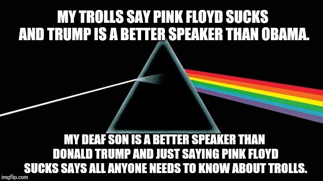 Just Because You Think It Doesn't Make It True. | MY TROLLS SAY PINK FLOYD SUCKS AND TRUMP IS A BETTER SPEAKER THAN OBAMA. MY DEAF SON IS A BETTER SPEAKER THAN DONALD TRUMP AND JUST SAYING P | image tagged in memes,meme,imgflip trolls,internet trolls,dumbasses,donald trump is an idiot | made w/ Imgflip meme maker