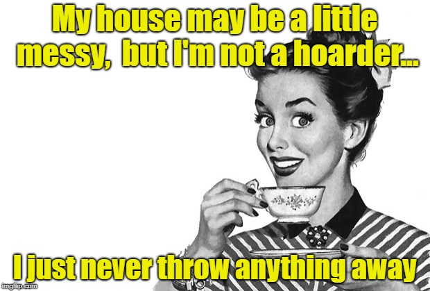 Of Course, Big Difference | My house may be a little messy,  but I'm not a hoarder... I just never throw anything away | image tagged in 1950s housewife,memes,hoarding | made w/ Imgflip meme maker