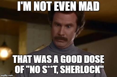 "actually im not even mad | I'M NOT EVEN MAD THAT WAS A GOOD DOSE OF ""NO S**T, SHERLOCK"" 