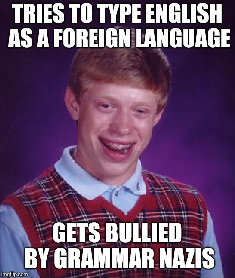 Bad Luck Brian Meme | TRIES TO TYPE ENGLISH AS A FOREIGN LANGUAGE GETS BULLIED BY GRAMMAR NAZIS | image tagged in memes,bad luck brian | made w/ Imgflip meme maker