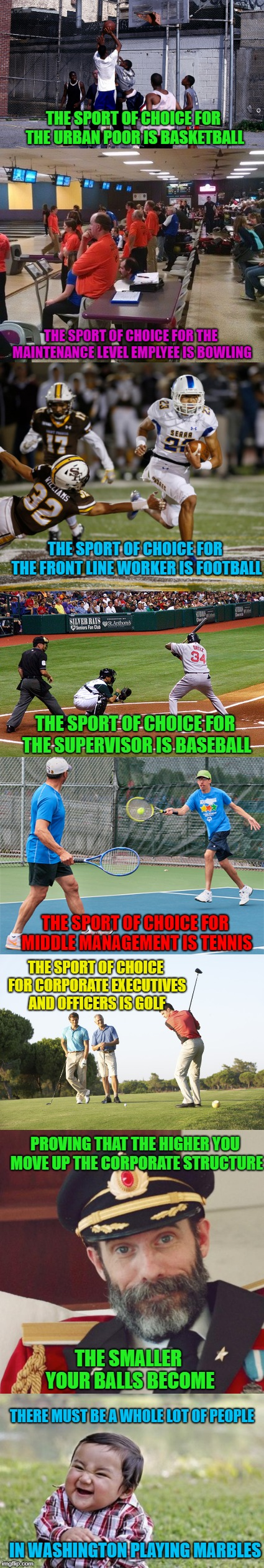 Where do you fit in? | THE SPORT OF CHOICE FOR THE URBAN POOR IS BASKETBALL THE SPORT OF CHOICE FOR THE MAINTENANCE LEVEL EMPLYEE IS BOWLING THE SPORT OF CHOICE FO | image tagged in memes,evil toddler,corporate ladder,funny,sports,balls | made w/ Imgflip meme maker