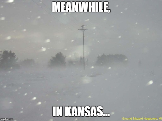 Just Chillin' | MEANWHILE, IN KANSAS... | image tagged in snow blizzard,kansas,blizzard,blizzard 2018 | made w/ Imgflip meme maker