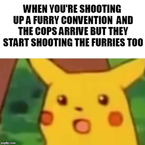 I am going to get flaaaaamed | WHEN YOU'RE SHOOTING UP A FURRY CONVENTION  AND THE COPS ARRIVE BUT THEY START SHOOTING THE FURRIES TOO | image tagged in memes,surprised pikachu,offensive,funny,furries,cringe | made w/ Imgflip meme maker