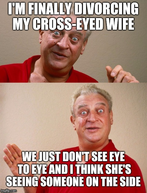Classic Rodney | I'M FINALLY DIVORCING MY CROSS-EYED WIFE WE JUST DON'T SEE EYE TO EYE AND I THINK SHE'S SEEING SOMEONE ON THE SIDE | image tagged in classic rodney | made w/ Imgflip meme maker