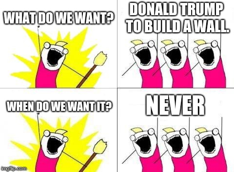 What Do We Want |  WHAT DO WE WANT? DONALD TRUMP TO BUILD A WALL. NEVER; WHEN DO WE WANT IT? | image tagged in memes,what do we want | made w/ Imgflip meme maker