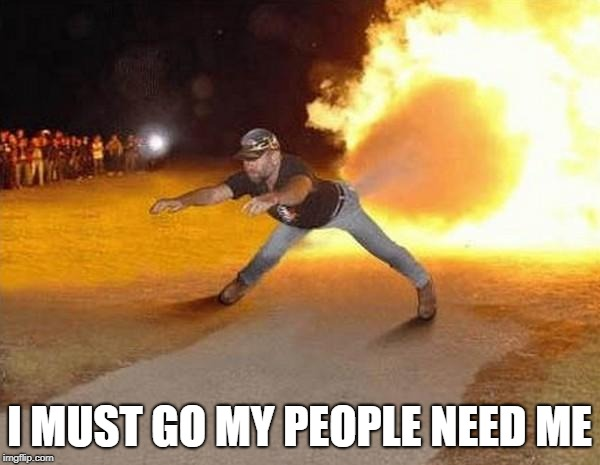 fire fart | I MUST GO MY PEOPLE NEED ME | image tagged in fire fart | made w/ Imgflip meme maker