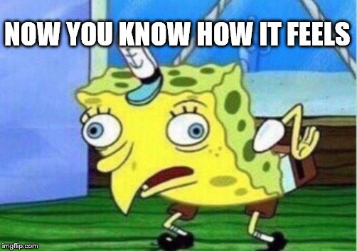 Mocking Spongebob Meme | NOW YOU KNOW HOW IT FEELS | image tagged in memes,mocking spongebob | made w/ Imgflip meme maker