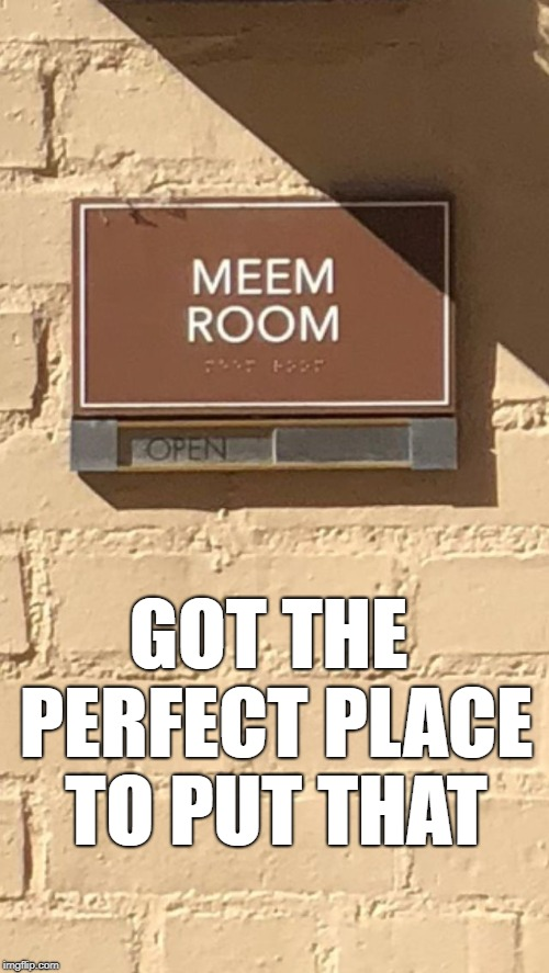 Meem Room | GOT THE PERFECT PLACE TO PUT THAT | image tagged in meem room | made w/ Imgflip meme maker