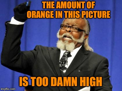 Too Damn High Meme | THE AMOUNT OF ORANGE IN THIS PICTURE IS TOO DAMN HIGH | image tagged in memes,too damn high | made w/ Imgflip meme maker