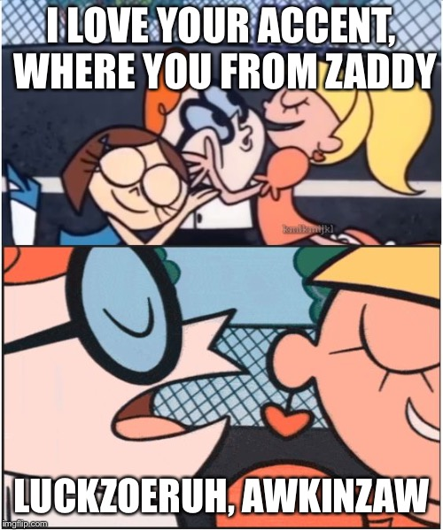 Dexters Lab | I LOVE YOUR ACCENT, WHERE YOU FROM ZADDY LUCKZOERUH, AWKINZAW | image tagged in dexters lab | made w/ Imgflip meme maker