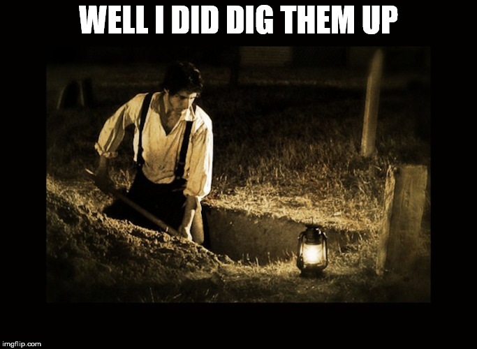grave digger | WELL I DID DIG THEM UP | image tagged in grave digger | made w/ Imgflip meme maker
