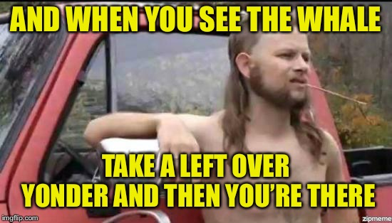 almost politically correct redneck | AND WHEN YOU SEE THE WHALE TAKE A LEFT OVER YONDER AND THEN YOU'RE THERE | image tagged in almost politically correct redneck | made w/ Imgflip meme maker