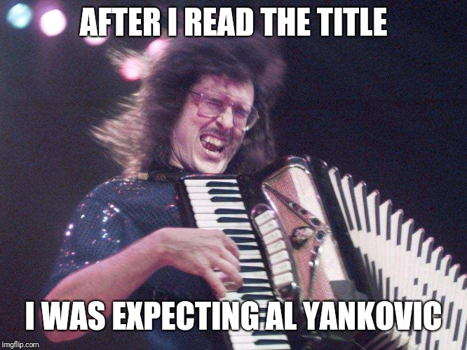 Weird Al Accordion | AFTER I READ THE TITLE I WAS EXPECTING AL YANKOVIC | image tagged in weird al accordion | made w/ Imgflip meme maker