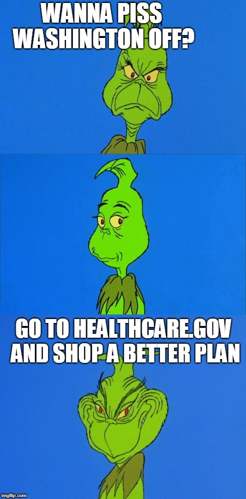 The Grinch Christmas | WANNA PISS WASHINGTON OFF? GO TO HEALTHCARE.GOV AND SHOP A BETTER PLAN | image tagged in the grinch christmas | made w/ Imgflip meme maker