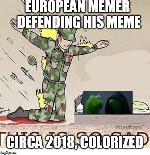 Freedooooom! | EUROPEAN MEMER DEFENDING HIS MEME CIRCA 2018, COLORIZED | image tagged in soldier protecting sleeping child,eu,article 13,freedom,never give up,evil kermit | made w/ Imgflip meme maker