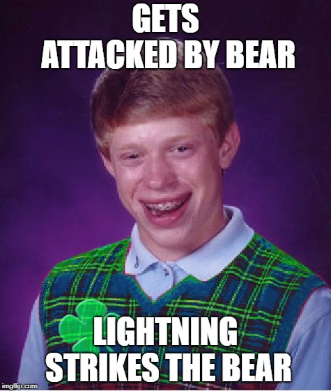 good luck brian | GETS ATTACKED BY BEAR LIGHTNING STRIKES THE BEAR | image tagged in good luck brian | made w/ Imgflip meme maker