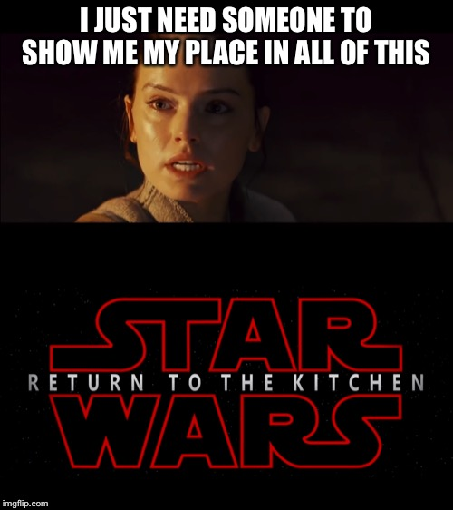 I JUST NEED SOMEONE TO SHOW ME MY PLACE IN ALL OF THIS | image tagged in star wars | made w/ Imgflip meme maker