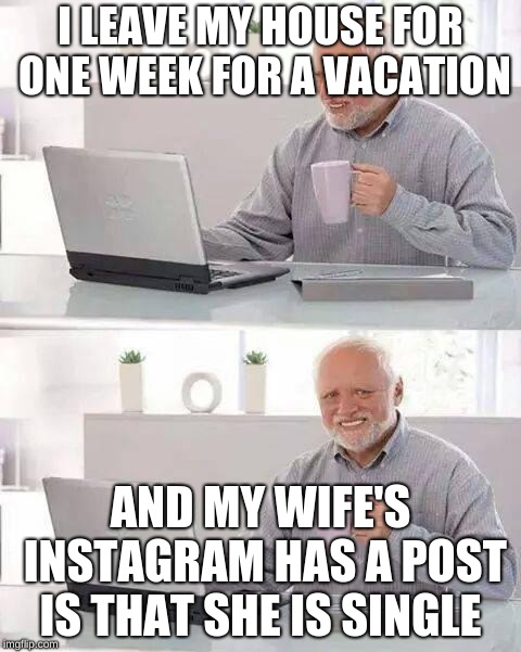 Hide the Pain Harold | I LEAVE MY HOUSE FOR ONE WEEK FOR A VACATION AND MY WIFE'S INSTAGRAM HAS A POST IS THAT SHE IS SINGLE | image tagged in memes,hide the pain harold | made w/ Imgflip meme maker