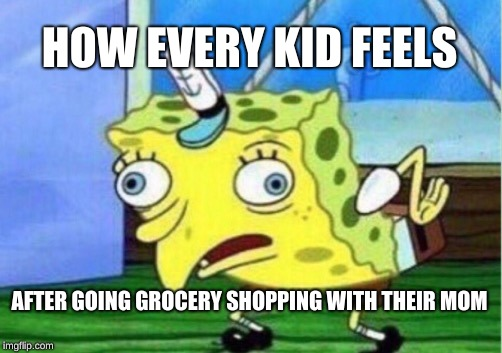 Mocking Spongebob Meme | HOW EVERY KID FEELS AFTER GOING GROCERY SHOPPING WITH THEIR MOM | image tagged in memes,mocking spongebob | made w/ Imgflip meme maker