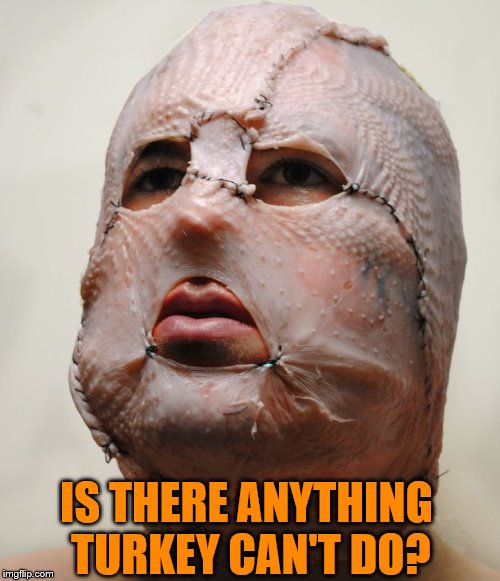 chicken mask | IS THERE ANYTHING TURKEY CAN'T DO? | image tagged in chicken mask | made w/ Imgflip meme maker