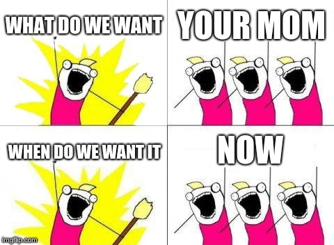 What Do We Want | WHAT DO WE WANT YOUR MOM WHEN DO WE WANT IT NOW | image tagged in memes,what do we want | made w/ Imgflip meme maker