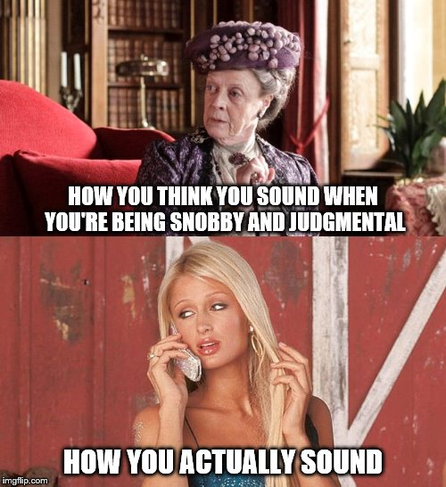 HOW YOU THINK YOU SOUND WHEN YOU'RE BEING SNOBBY AND JUDGMENTAL HOW YOU ACTUALLY SOUND | image tagged in downton abbey | made w/ Imgflip meme maker
