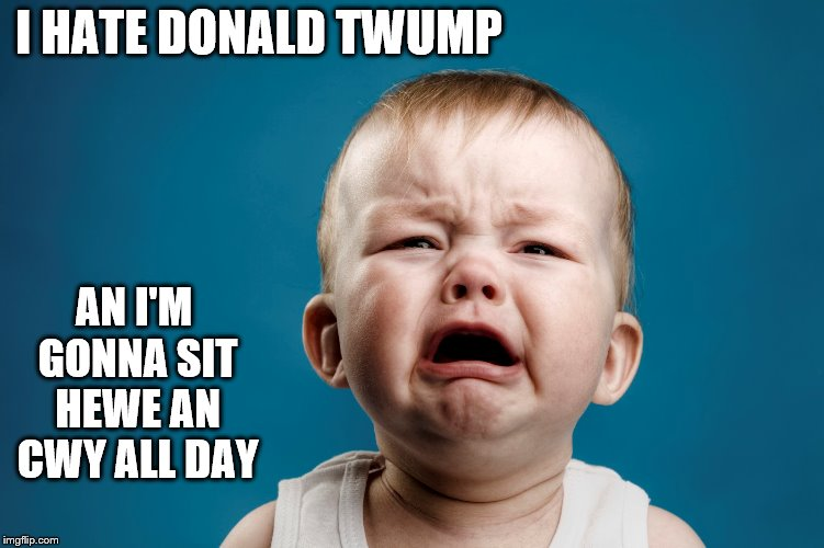 So Sad and Angwy | I HATE DONALD TWUMP AN I'M GONNA SIT HEWE AN CWY ALL DAY | image tagged in donald trump,baby | made w/ Imgflip meme maker