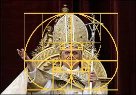 A pope embroidered in gold and the Golden Ratio. | image tagged in pope,embroiderment,gold,religion,the golden ratio,deception | made w/ Imgflip meme maker
