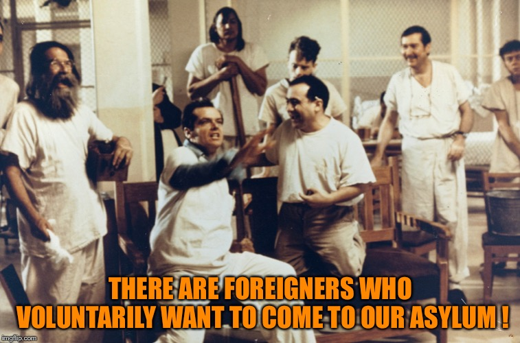 THERE ARE FOREIGNERS WHO VOLUNTARILY WANT TO COME TO OUR ASYLUM ! | image tagged in one flew | made w/ Imgflip meme maker