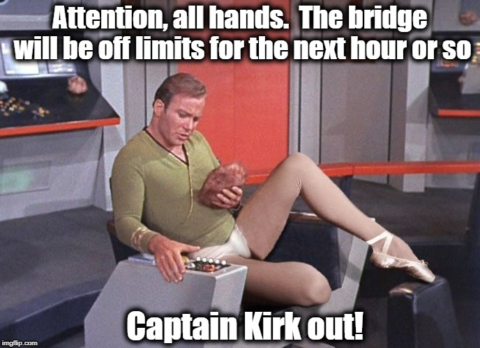 Hey, everyone has their hangups | Attention, all hands.  The bridge will be off limits for the next hour or so Captain Kirk out! | image tagged in kirk,ballerina outfit,humour,lol | made w/ Imgflip meme maker