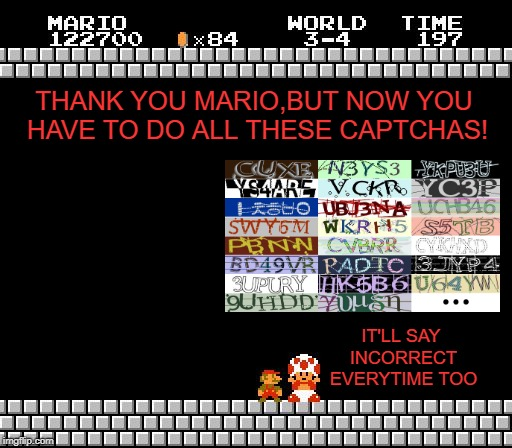 Thank You Mario | THANK YOU MARIO,BUT NOW YOU HAVE TO DO ALL THESE CAPTCHAS! IT'LL SAY INCORRECT EVERYTIME TOO | image tagged in thank you mario,funny memes,internet,frustration,annoying | made w/ Imgflip meme maker