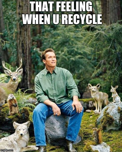 Arnold nature |  THAT FEELING WHEN U RECYCLE | image tagged in arnold nature | made w/ Imgflip meme maker