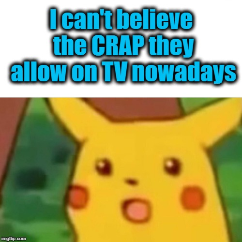 Surprised Pikachu Meme | I can't believe the CRAP they allow on TV nowadays | image tagged in memes,surprised pikachu | made w/ Imgflip meme maker
