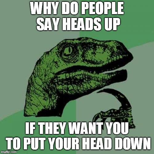 Philosoraptor Meme | WHY DO PEOPLE SAY HEADS UP IF THEY WANT YOU TO PUT YOUR HEAD DOWN | image tagged in memes,philosoraptor | made w/ Imgflip meme maker