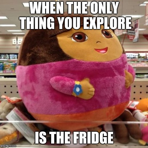 Why Dora Whyyyy? | WHEN THE ONLY THING YOU EXPLORE IS THE FRIDGE | image tagged in dora | made w/ Imgflip meme maker