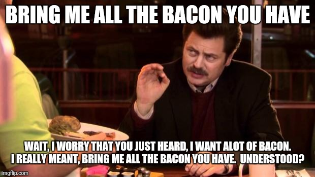 Ron Swanson | BRING ME ALL THE BACON YOU HAVE WAIT, I WORRY THAT YOU JUST HEARD, I WANT ALOT OF BACON. I REALLY MEANT, BRING ME ALL THE BACON YOU HAVE.  U | image tagged in ron swanson | made w/ Imgflip meme maker