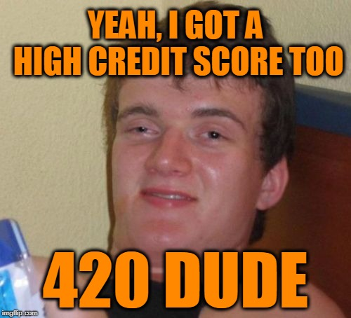 10 Guy Meme | YEAH, I GOT A HIGH CREDIT SCORE TOO 420 DUDE | image tagged in memes,10 guy | made w/ Imgflip meme maker