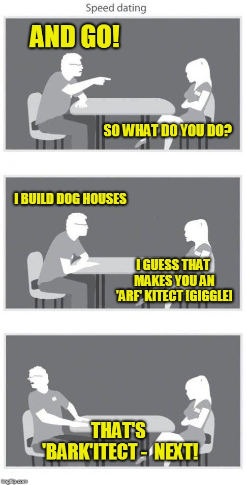 Speed dating | AND GO! THAT'S 'BARK'ITECT -  NEXT! SO WHAT DO YOU DO? I BUILD DOG HOUSES I GUESS THAT MAKES YOU AN 'ARF' KITECT [GIGGLE] | image tagged in speed dating | made w/ Imgflip meme maker
