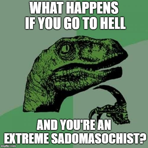 Philosoraptor | WHAT HAPPENS IF YOU GO TO HELL AND YOU'RE AN EXTREME SADOMASOCHIST? | image tagged in memes,philosoraptor,hell,bdsm,religion | made w/ Imgflip meme maker