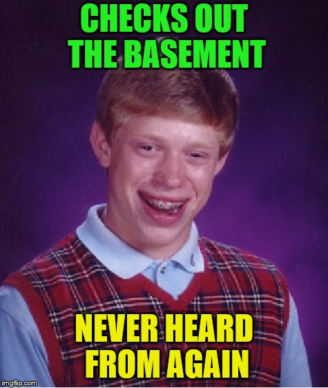 Bad Luck Brian Meme | CHECKS OUT THE BASEMENT NEVER HEARD FROM AGAIN | image tagged in memes,bad luck brian | made w/ Imgflip meme maker