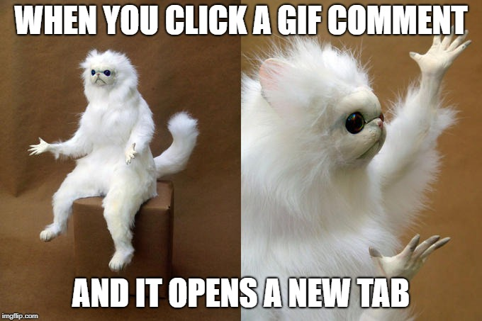 Persian Cat Room Guardian | WHEN YOU CLICK A GIF COMMENT AND IT OPENS A NEW TAB | image tagged in memes,persian cat room guardian | made w/ Imgflip meme maker