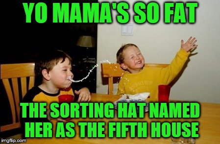 New House name: Chubbybum | YO MAMA'S SO FAT THE SORTING HAT NAMED HER AS THE FIFTH HOUSE | image tagged in memes,yo mamas so fat,harry potter sorting hat,hogwarts,funny | made w/ Imgflip meme maker