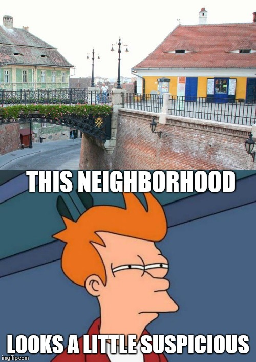 These buildings look like they are up to something | THIS NEIGHBORHOOD LOOKS A LITTLE SUSPICIOUS | image tagged in futurama fry,suspicious,pipe_picasso,fry | made w/ Imgflip meme maker