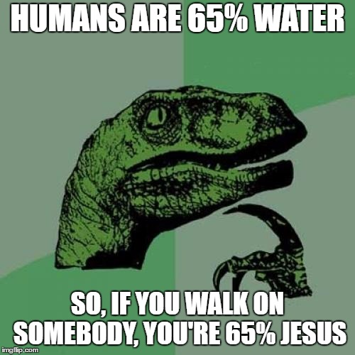 Philosoraptor Meme | HUMANS ARE 65% WATER SO, IF YOU WALK ON SOMEBODY, YOU'RE 65% JESUS | image tagged in memes,philosoraptor | made w/ Imgflip meme maker